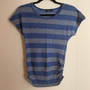 Blue and gray striped top